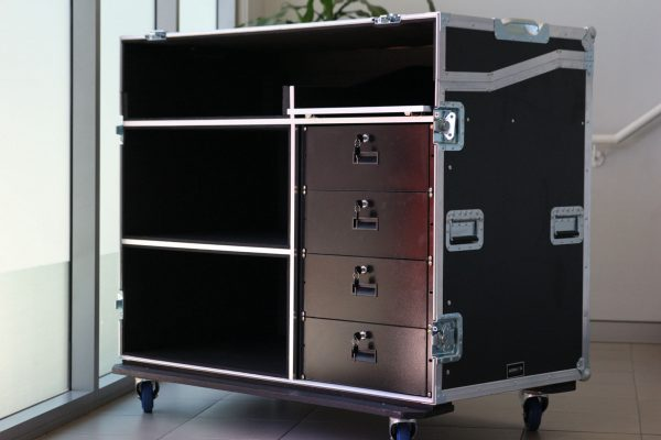 workstation road case with drawers