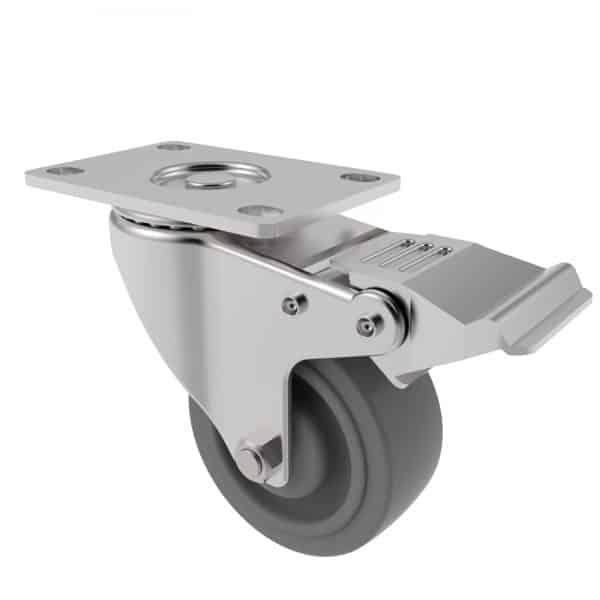 CARJET 2E-B 75mm-3″ Braked Rubber Swivel Castor